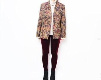 Vintage tapestry women blazer / jacket outerwear brown leaves