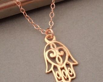 Hamsa Necklace in Rose Gold, Gold Hamsa Necklace, Hamsa Pendant Necklace, Rose Gold, Hamsa Jewelry, Protection Necklace, Hand of Fatima