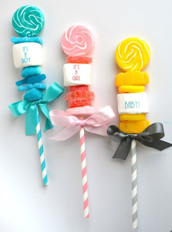 baby shower favors lollipop marshmallow pops pink or blue boy or