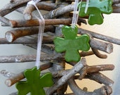 St. Patrick Shamrock Ornaments Green Lucky Ceramic 4 Leaves Clover Home Decoration Gift Set of 3