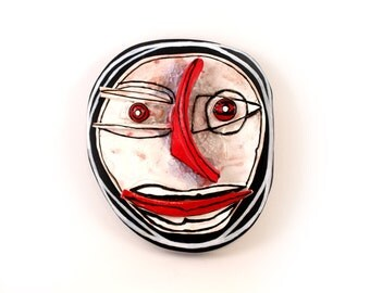 Abstract art, Abstarct Face, Ceramic wall art, Crazy art, Ceramic mask, Man mask
