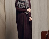 Maxi Dress / Linen Winter Dress / Oversized Dress Gown / Trenchcoat Dress Coat Dress Long Dress / Loose fitting linen dress / shift dress