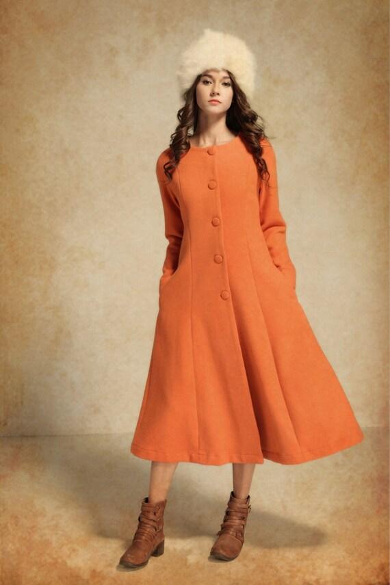 Long Wool Coat/ Wool Coat Jacket / Cashmere Coat / Long Winter Coat / Winter Wool Coat / Orange Coat Dress