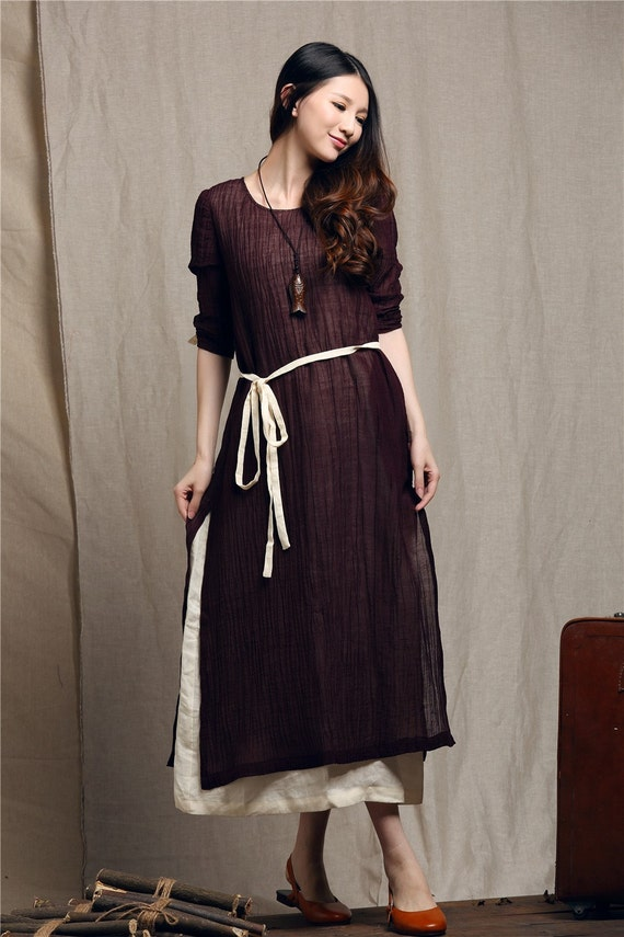 Maxi linen dress contrast color dress loose by camelliatune for Loose fitting wedding dresses