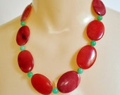 Jade Necklace, Red and Green Jade Beads, Large Oval Chunky Flat Disc Stones, Red Jade Beaded Necklace