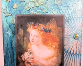 Fairy with Butterfly Crown, Glowing Fairy, Textured Mixed Media Canvas Panel, Altered Panel, Wall Decor with Metal Wire