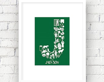 Letter J, Initial Alphabet Wall Art, Learning Shapes, Baby/Nursery/Kid's Room, Personalize Child's Name Decor