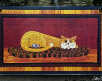 Primitive Folk Art / Orange Cat / Picture Plaque / Art Adhered To Wood /  Handmade in USA
