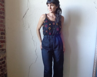 sequin top jumpsuit/ 80s/ sheer layered pants// small