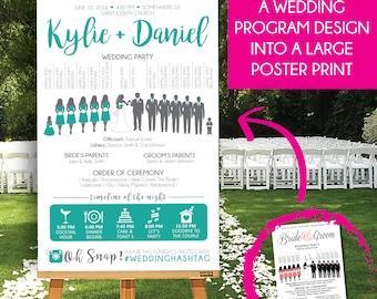 "UPGRADE COST - Wedding Program Poster Upgrade , ""Add On / Upgrade"" Wedding Party, Ceremony Program Poster"