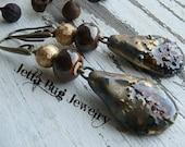 Corretto- artisan ceramic sandy drops. espresso earrings. dark chocolate brown. caramel earrings. ooak boho jewelry. Jettabugjewelry