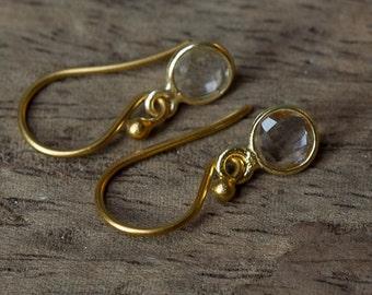Crystal Earrings, Simple Crystal Earrings, Gold Crystal Earrings, Birthstone Earrings, April Birthstone, Bezel Set Earrings,Simple Earrings