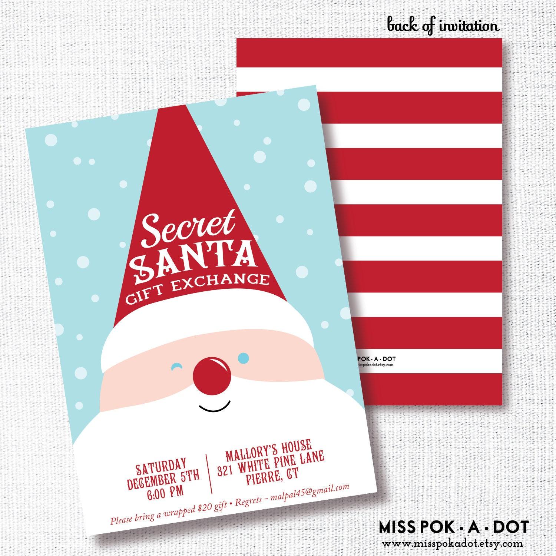 Christmas Ideas Secret Santa: Secret Santa Gift Exchange Invitation Printable Kids