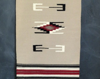 """Handwoven Vintage Wool Wall Hanging. Chimayó Wool Wall Hanging. Beige, Black, Red, White Wall Hanging. 18.5"""" x  39"""" Size. 