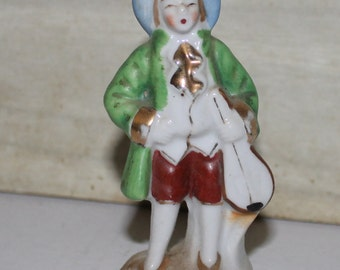 Vintage Colonial Man with Mandolin Porcelain Figurine - Japan - Hand Painted - Victorian - Collectibles - Home Decor -