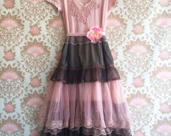 Sale dark olive muted cocoa & dusty rose large tulle party dress by mermaid miss k