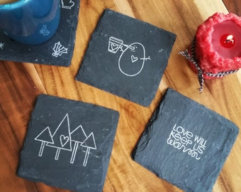 Stay Warm Winter Slate Coasters (Set of 4) Holidays, Christmas, Winter