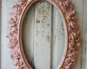 Rose picture frame wall hanging large oval painted pink w/ gold shabby cottage chic ornate home and nursery decor anita spero design