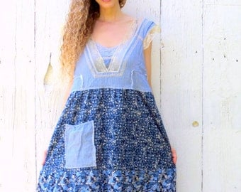 Free People Maxi Dress - upcycled dress - womens size large blue floral tattered clothing shabby romantic style ready to ship by wearlovenow