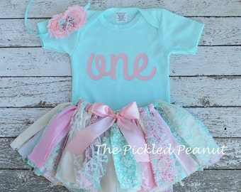 Pink and Mint Birthday Outfit Birthday Tutu 1st Birthday Outfit Baby Tutu baby Skirt Girls Birthday Outfit Fabric Tutu Baby Girl Skirt