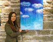 Aqua painting Rain art Abstract painting RAIN Blue art on canvas Turquoise painting Blue canvas painting Modern painting Canvas aqua art