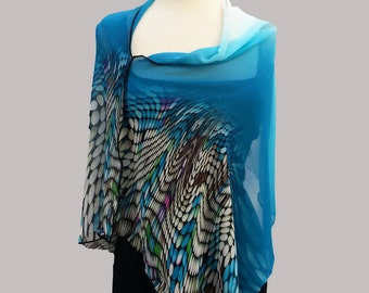"""NEW ~ Sheer """"Ocean Baby"""" Cowl Neck Scarf Poncho"""