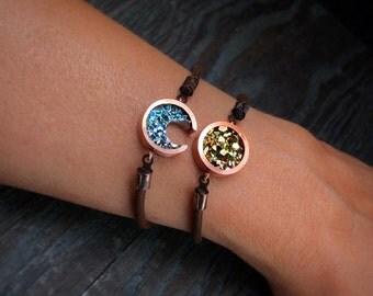 Friendship Bracelets - Custom Order - Sun and Moon Bracelets - Best Friend Gift - Bismuth Crystal Bracelet - Celestial Jewelry - Bohemian