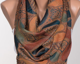 Long Scarf or Paisley Shawl Wrap. Mothers Days Scarf. Oversize scarf wrap. BROWN and Colorful silky touch....