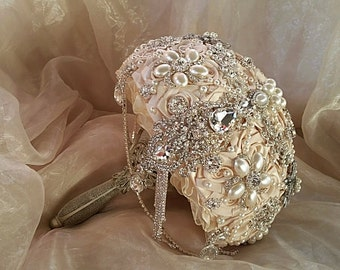 Champagne Brooch Bouquet , Ivory and Silver Brooch Bouquet, Ivory Jeweled Bouquet, Brooch Bouquet, Champagne Brooch Bouquet,DEPOSIT ONLY