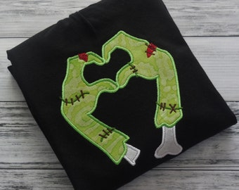 Zombie Valentine's Day Applique Shirt - Dead Love Outfit - Walker Heart Hands - Personalized Clothing