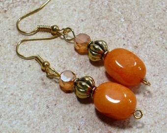 Orange & Gold Earrings - Handmade Earrings, Quartzite Gemstones, Woman's Earrings on Nickle-Free Earwires, Handmade Jewelry, Gifts for Her