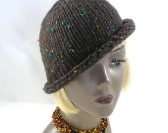 Hand Knit Brown Tweed Hat: Rolled Brim Hat, Brown Bucket Hat, Twenties Style Hat, Handmade in the USA, Vegan Hats, Ready to Ship