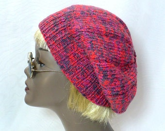 Raspberry Marled Tam - Hand Knit Slouchy Beanie, Knit Tam, Marled Watchcap, Man's or Woman's Hat, Handmade in the USA, Ready to Ship