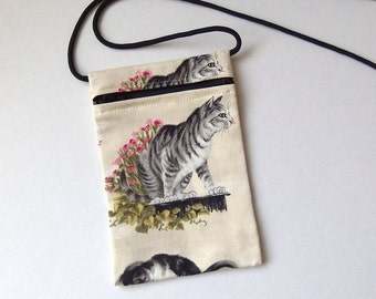 Pouch Zip Bag CAT Fabric - great for walkers, markets, travel. Cell Phone Pouch. Small fabric Purse. Cross Body bag. tabby cat bag