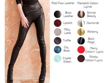 High Waisted Faux leather cotton lycra mettalic high wet sexy black brown silver gold Halloween leggings pants tights Small to Plus size