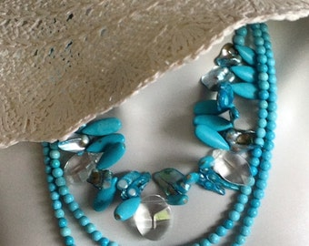 Multi Strand Statement Necklace, Bib Necklace, Turquoise Necklace, Sterling Silver