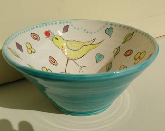 Pottery Serving Bowl Fruit bowl with Birds Turquoise Ceramics Handmade and Hand Painted in UK