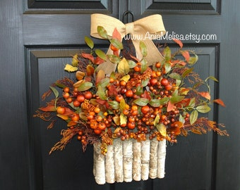 fall wreaths Thanksgiving wreath front door wreaths fall home decorations berries berry outdoor wreaths