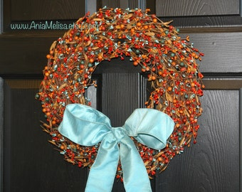 fall wreath pip berry berries wreaths welcome weddings wreaths front door wreaths fall decor Thanksgiving wreaths