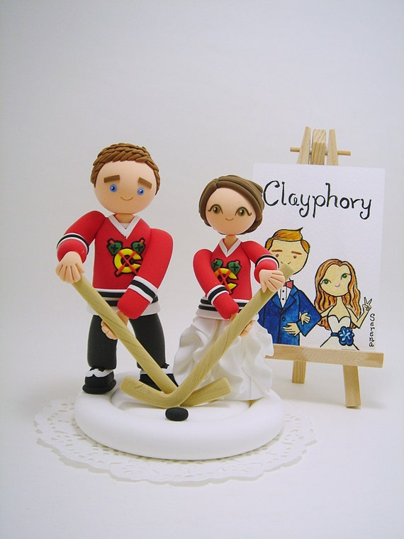custom hockey wedding cake toppers hockey theme custom wedding cake topper 13202