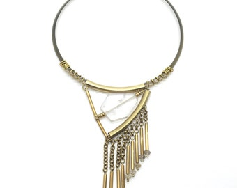 HEMERA - Quartz, Rutilated Quartz, Statement Necklace, Quartz Necklace, Rutilated Quartz Necklace, Quartz Jewelry, Quartz Jewellery, Crystal