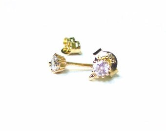SALE Gold Vermeil Earring Posts 2 pcs/ 1 pair 3mm with Clutch CZ Cubic Zirconia RZ106