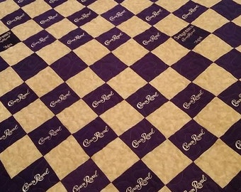 Crown Royal Quilt Custom Made to Order Crown Royal Quilt, Couch Throw, Man Cave Blanket, Gifts for Guys (You pick the size and pattern)
