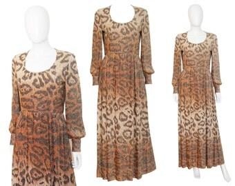 Adele Simpson 1970s Vintage Maxi Evening Dress Leopard Animal Print Silver Lurex US Size 6 Small
