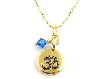 Petite Om Symbol Yoga Charm Necklace, Yoga Jewelry, Yoga Necklace, Om Symbol, Buddhist Necklace, Gifts