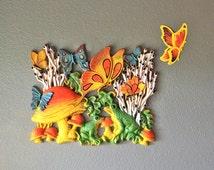 Vintage 1973 Retro Homco Frog Mushroom Butterfly Wall Plaque
