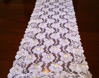 Lace With Buttons Table Runner