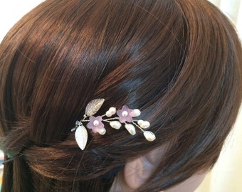 Bridal hair pin, wedding hair pins, pearl hair pin bridal, flower hair pins wedding, purple hair pin for wedding, pearl wedding accessories