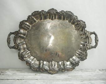 Vintage Footed Silver-Plated Tray