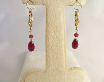 "Longido ruby briolette gold filled leverback 1 3/8"" total earrings gemstone handmade item 830"